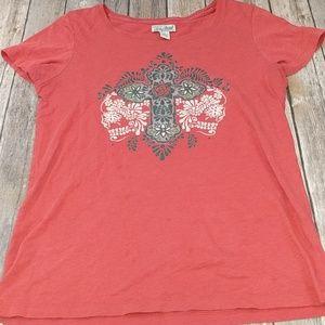 Lucky Brand Red cross floral t shirt medium